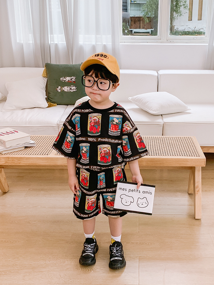 Boys Summer Suit Children Print Short-Sleeve Shorts Handsome Piece Baby Boy Summer Tide Loading Kids Male