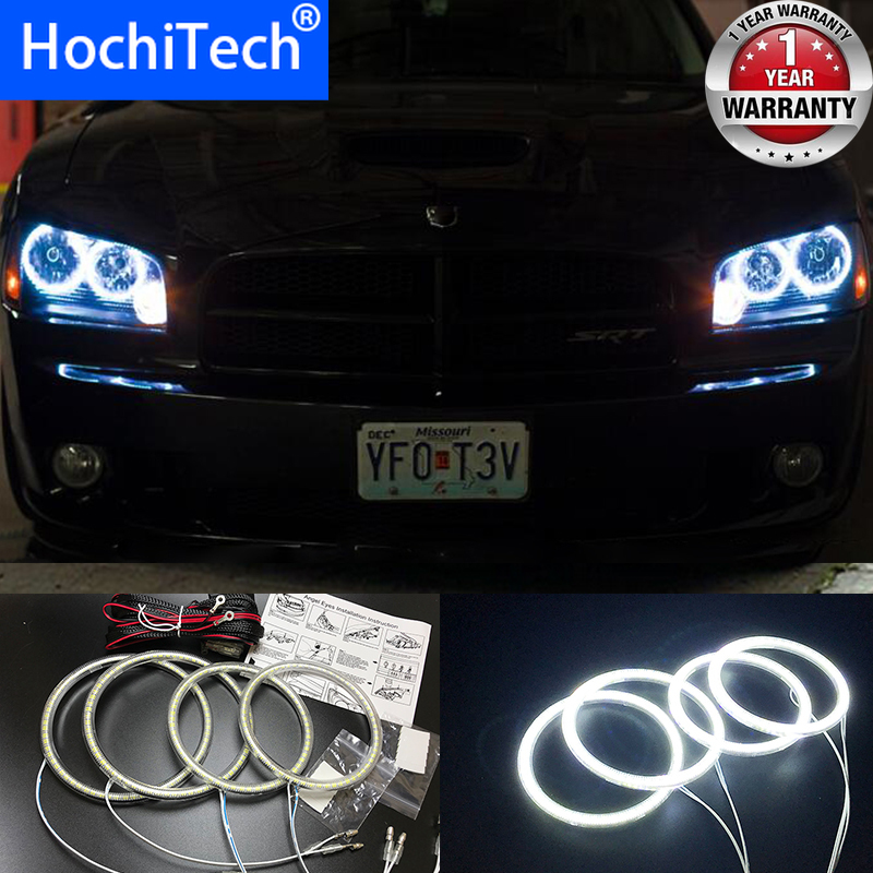 HochiTech Ultra bright SMD white LED angel eyes 2500LM 12V halo ring kit daytime running light DRL for <font><b>Dodge</b></font> <font><b>Charger</b></font> 2005-2010 image