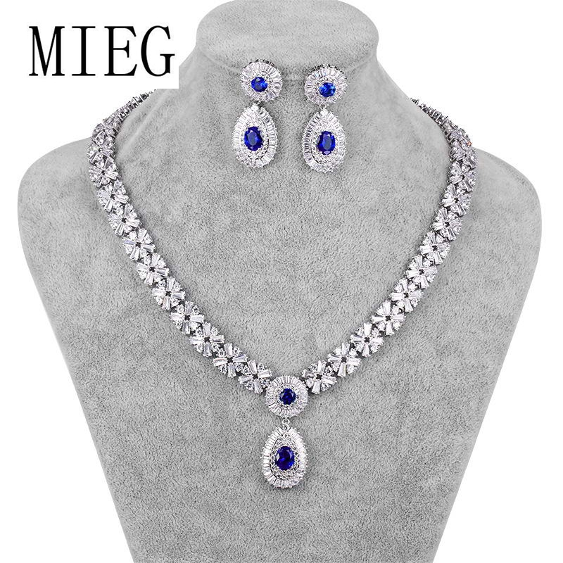 MIEG Brand New Arrival Luxury Assorted Colors Cubic Zirconia Wedding Jewelry Set for Bride or Bridesmaid