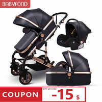 EU warehouse Luxury 3 in 1 baby stroller aluminum frame CE certified luxury stroller Low price processing