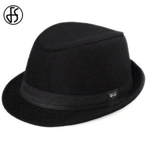 Image 3 - FS Vintage Men Wide Brim Wool Felt Fedora Hats For Black  Jazz Trilby Panama Hat Gentleman Gangster Caps Fedora Chapeau Homme