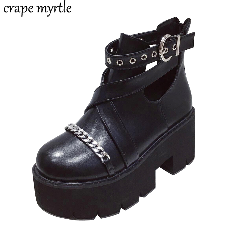women low heel boots platform shoes autumn 2019 Gothic Punk Low Heel combat for fall Shoes YMA941