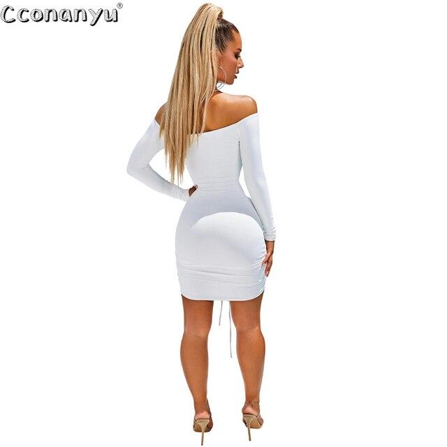 Ladies sexy drawstring dress Autumn Winter black  White Slash Neck short dresses long Sleeve Solid Mini Club Dress vestidos 6