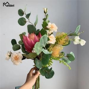 Image 3 - Meldel الزفاف باقة العروس باقات الاصطناعي جنوب أفريقيا العاهل زهرة الورد سيمز أزاليا الأوكالبتوس يترك باقة الزفاف