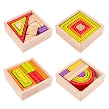 Деревянные радужные строительные блоки для малышей обучающая