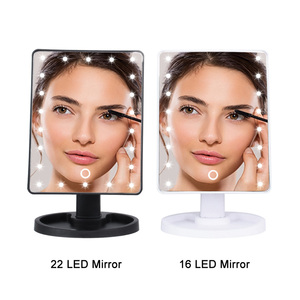 Image 5 - LED Makeup Mirror Illuminated Cosmetic Table Mirror With Light for Make Up Adjustable Light 16/22 Touch Screen Eyelash Brush