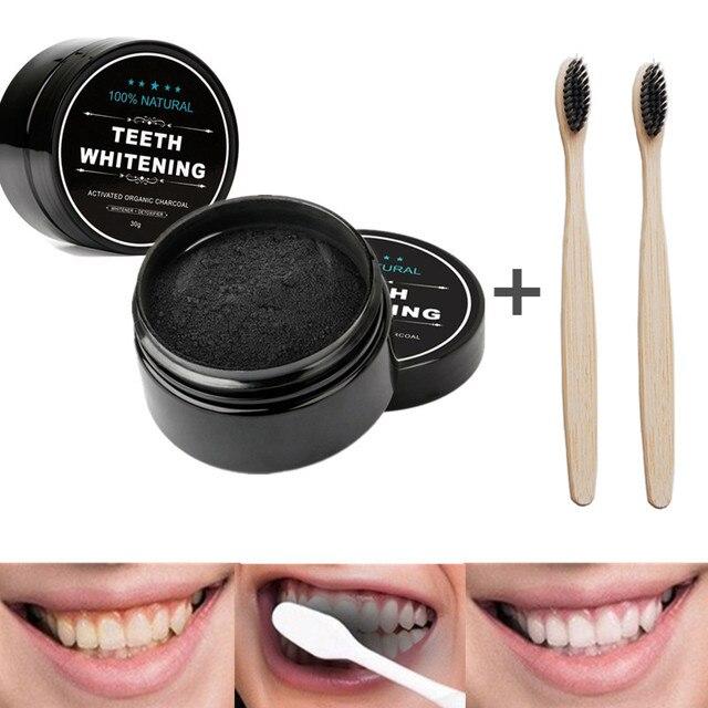 Poudre à charbon de bois naturel pour les dents, 30 gr, soins bucco dentaires, hygiénique, actif blanchisseur, efficace