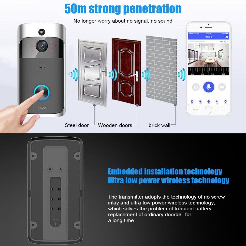 Sans fil WiFi vidéo sonnette téléphone intelligent porte anneau interphone maison sécurité caméra cloche VH99