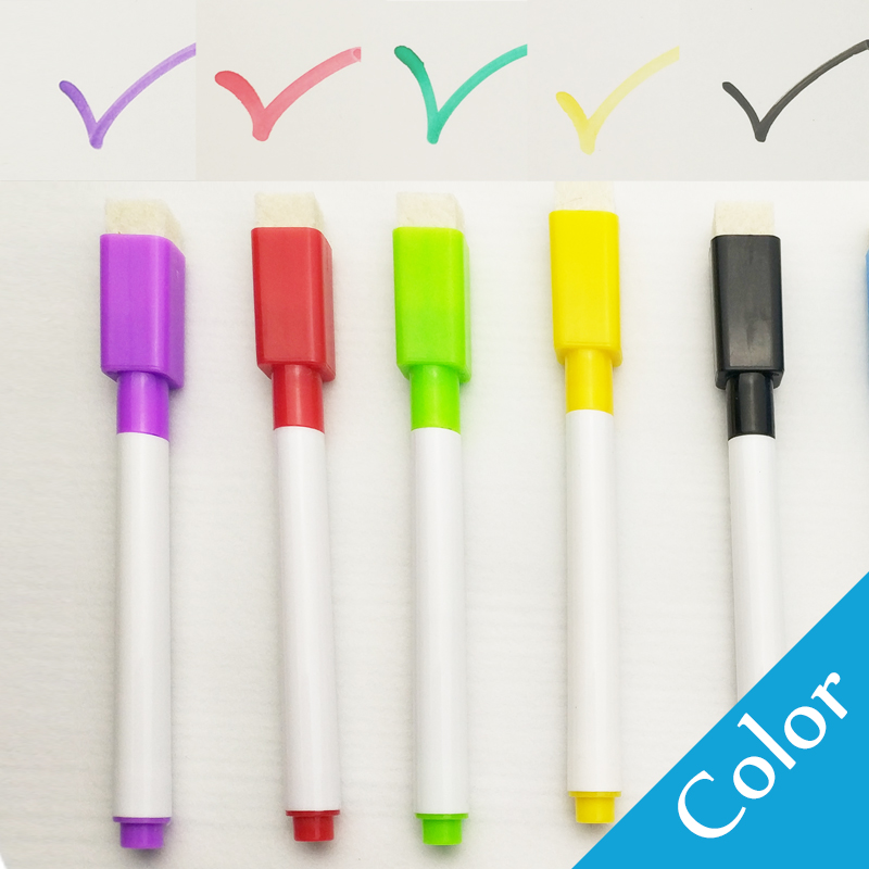 5/8Pcs/lot Colorful black School classroom Whiteboard Pen Dry White Board Markers Built In Eraser Student children's drawing pen 4
