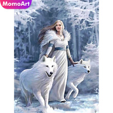 MomoArt Diamond Painting Girl White Wolf Mosaic Full Square Drills Embroidery Home Decoration