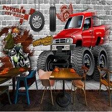milofi custom large wallpaper mural retro 3D brick wall car broken tooling background