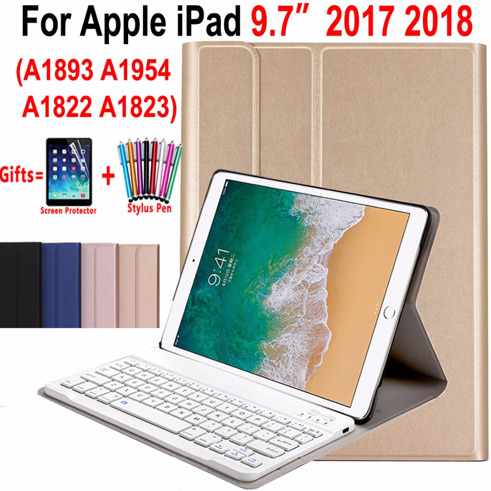 Slim Leather Case Cover for Apple New iPad 9.7 2017 2018 A1822 A1893 5th 6th Generation Wireless Removeable Bluetooth Keyboard