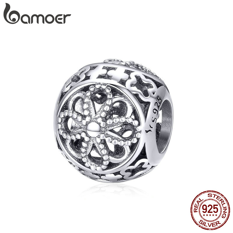 BAMOER Authentic 925 Sterling Silver Flower Language Engrave Charm Beads Fit Bracelets Necklaces DIY Jewelry Accessories SCC899