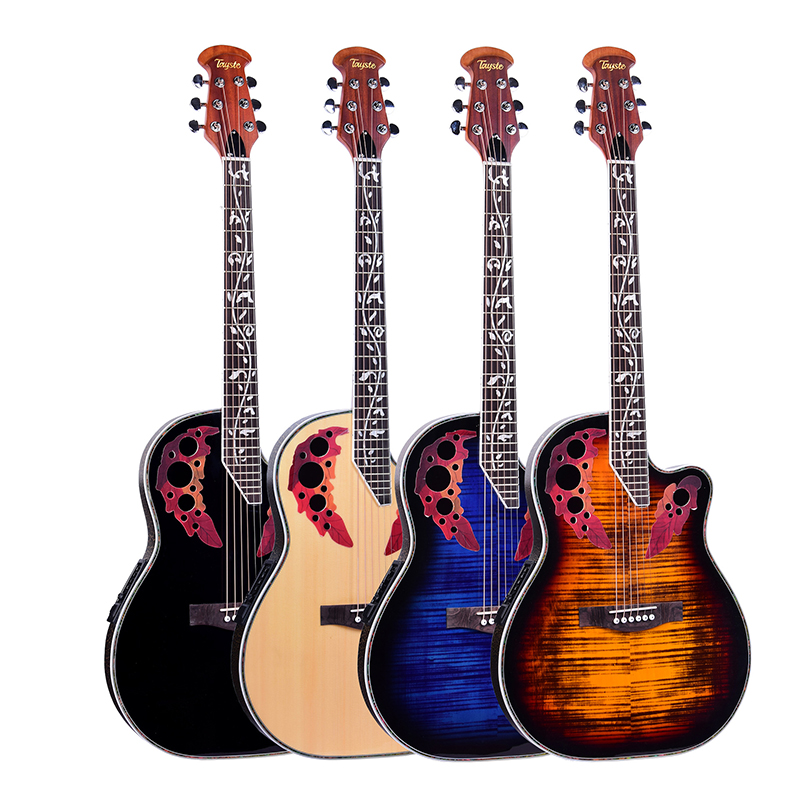 41 inch Folk Guitar 6 String Electric Box Guitar Light Spruce Guitar Rosewood Fingerboard Crack Guitar Pickup Concert AGT152 title=