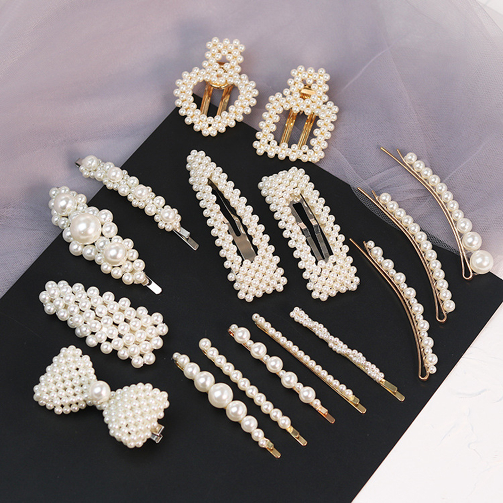 2019 Fashion Pearl Hair Clip For Women Elegant Korean Design Snap Barrette Stick Hairpin Hair Styling Accessories