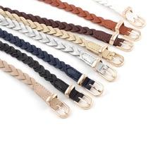 Women's Dress Thin Belt PU Leather Braided Belt Golden Pin Buckle 1.2cm Width New Fashion Causal Waistband designer brand