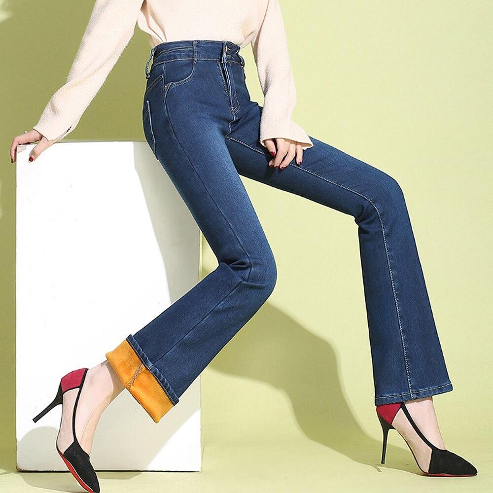 Autumn Winter Warm Plus Velvet Thick Jeans Women's High Waist Stretch Flare Jeans Fashion Casual Women Plus Size Denim Pants