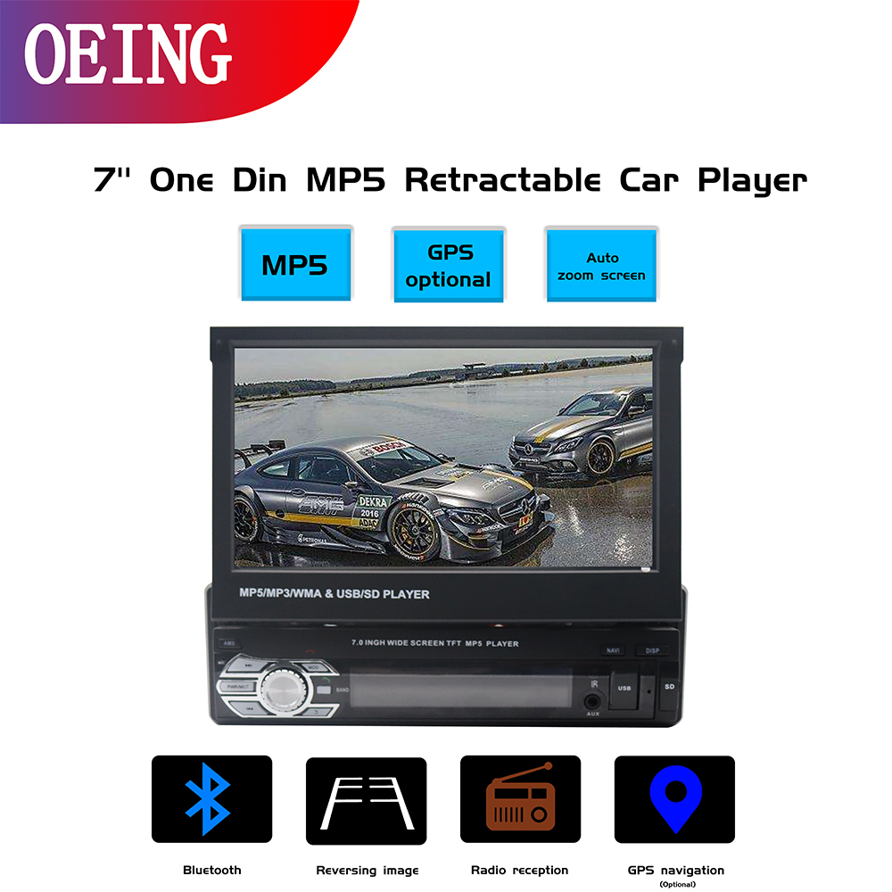 1 din 7 inch Screen MP5 retractable car player Wince system multimedia Player universal Camera audio Video player GPS Navigation image