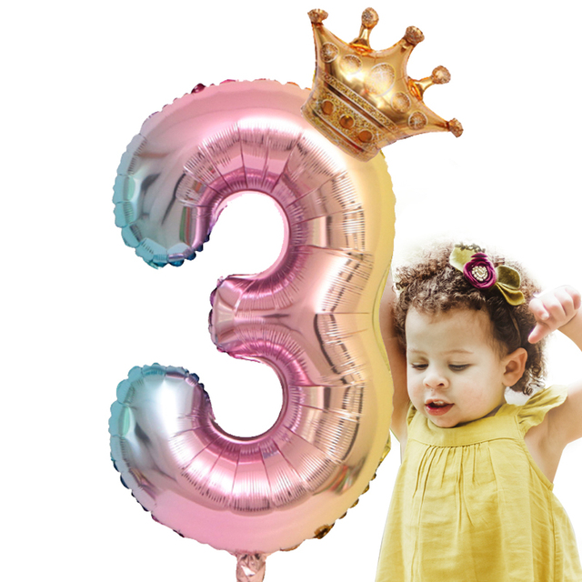 Large 32inch Helium Air Digit Figure Big Crown Number Foil Balloon Birthday Party Decorations Kids