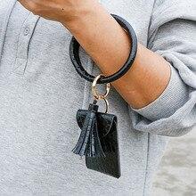 RE New Fashion PU Leather Tassel Keychain Crocodile Pattern Purse Pendant Keychain Women Men Bracelet Keychain Jewelry Gift 2020