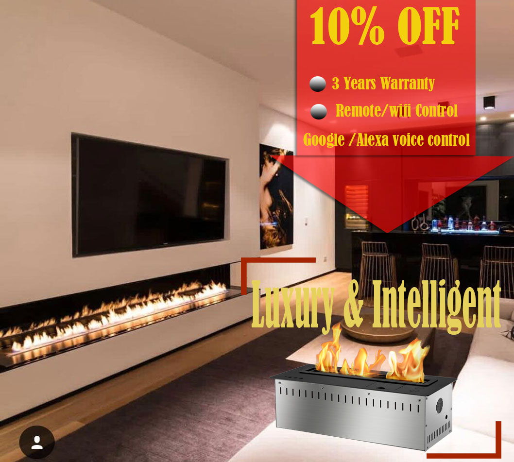 On Sale 72'' Silver Or Black Real Fire Wifi Intelligent Auto Bioethanol Fireplaces