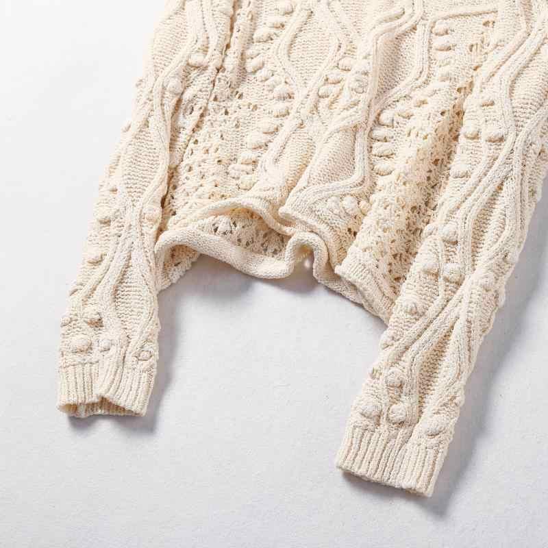 Suéter de punto texturizado de estilo bohemio con adornos de pompones de manga larga suéteres jerseys de mujer casual chic 2019 nuevos jerseys