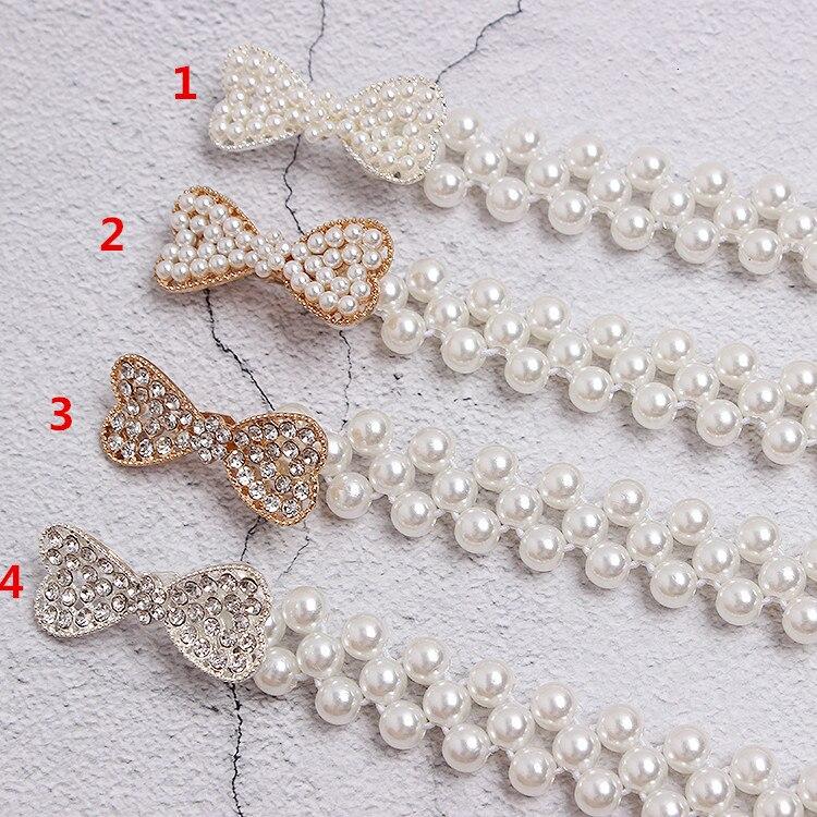 Cinturón blanco perla mujeres chicas moda diy hebillas obag Correa cinturones Niza alta calidad caída cinturones de barco hebillas - 5