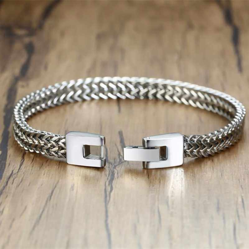 Pulsera de acero inoxidable de moda de 4 colores con encanto de dominación pulsera de Bali cadena doble para hombre joyería de personalidad para hombre