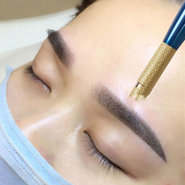 0.18mm Laminas Agulhas Tebori Microblading needles Permanent Makeup Tattoo Needle 7 9 12 14 17 21 Blades for Eyebrow Manual Pen 4