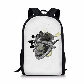 moon wood high quality canvas printed heart yellow backpack korean style students travel bag girls school bag laptop backpack Customized character stitching printed backpack teen boys and girls travel backpack student school bag backpack laptop bag