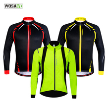 WOSAWE Fleece Thermal Cycling Jackets Yellow Windproof Long Sleeve Jersey MTB Bike Bicycle ciclismo Reflective Clothing