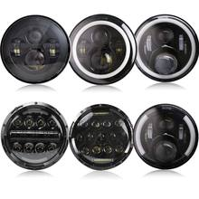 2Psc 7 Inch LED Headlight H4 Hi Lo With Halo Angel Eyes For Lada 4x4 urban Niva Jeep JK Land rover defender Hummer