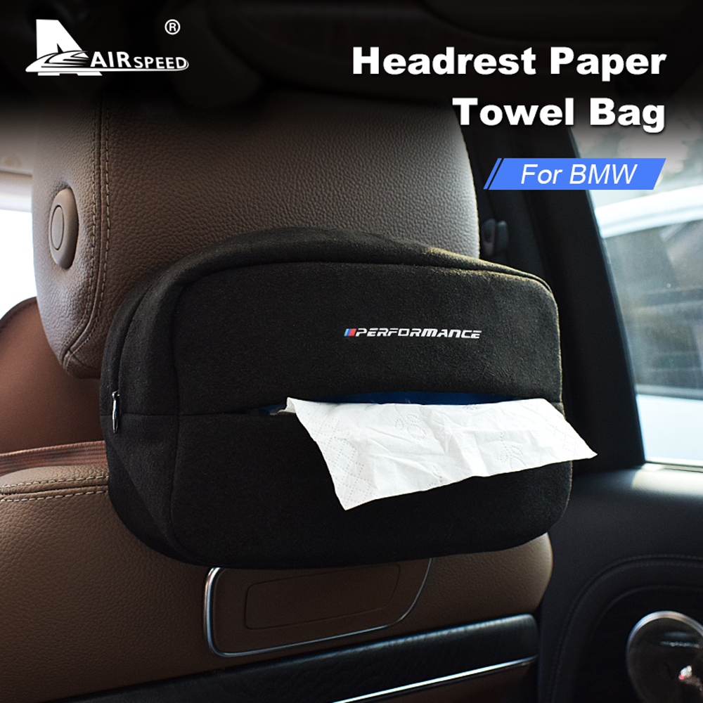 AIRSPEED Suede M Performance Car Tissue Box Holder Cover Case Portable Seat Back Napkin Paper Storage Bag For BMW Accessories
