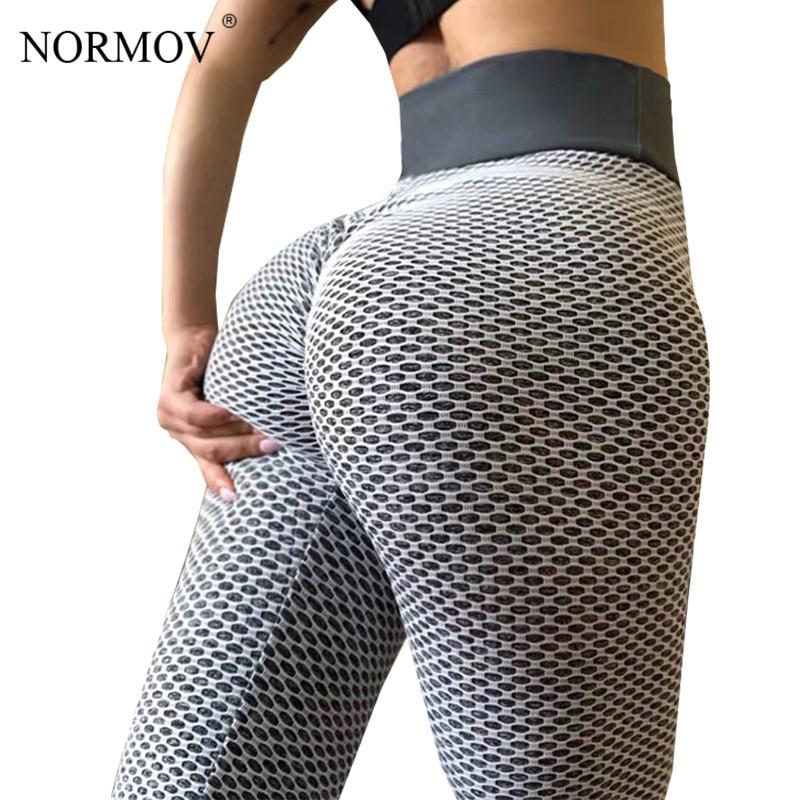 NORMOV yüksek bel nokta spor tayt kadın egzersiz Push Up tayt aktif giyim tayt spor Feminina Jeggings