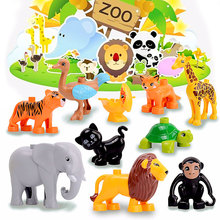 Legoily Zoo Model Building Blocks Bricks Toys Figures Compatible with Duplo Animals Elephant Giraffe Whale Dinosaur Child Gift new duplo zoo animal series large particle fit legoings duplo figures city building blocks bricks zoo kids toys diy gift kid toy