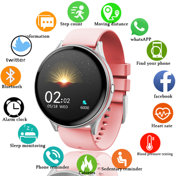 LIGE 2020 New Full Touch Screen Smart Watch Women Multifunctional Sport Heart Rate Blood Pressure IP67 Waterproof Smartwatch+Box