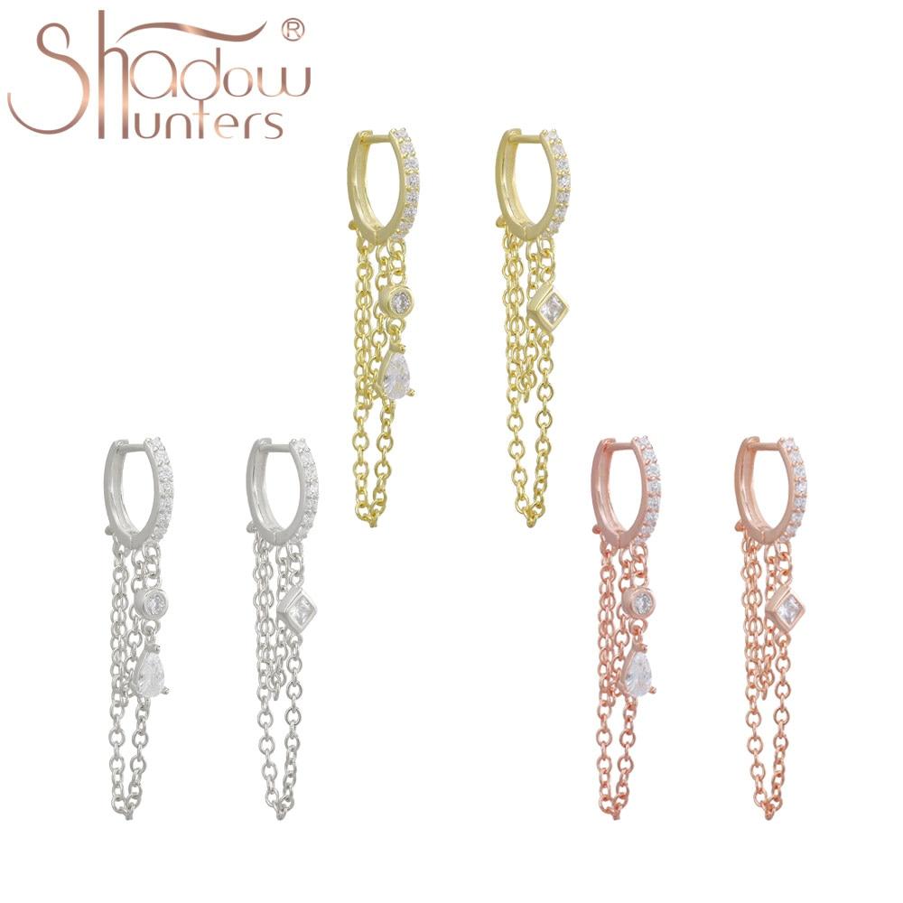 SHADOWHUNTERS 925 Sterling Silver New Asymmetric Tassel Link Drop Earrings For Women Dating Modern 925 CZ  Jewellery 2020 Aretes