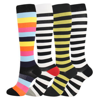 Knee High Striped Compression Socks Leg Stocking For Anti Fatigue Pain Relief Socks Mens Unisex Calf Support Runing Socks shenbao tablet ginseng maca warm tonic male health anti aging promoting energy waist and leg pain anti fatigue tone up the body