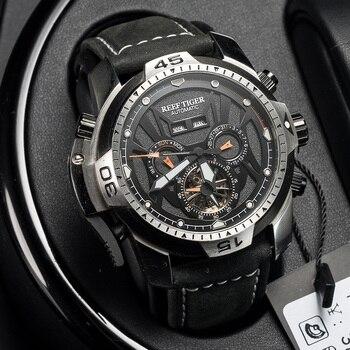 цена Reef Tiger/RT Sport Watch Complicated Dial with Year Month Perpetual Calendar Big Steel Case Watches RGA3532 онлайн в 2017 году