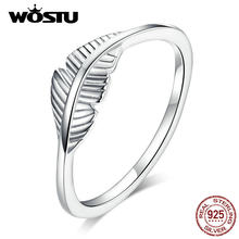 WOSTU 2019 New Feather Rings 100% Real 925 Sterling Silver Beautiful Rings For Women Making Jewelry Gift DXR582(China)
