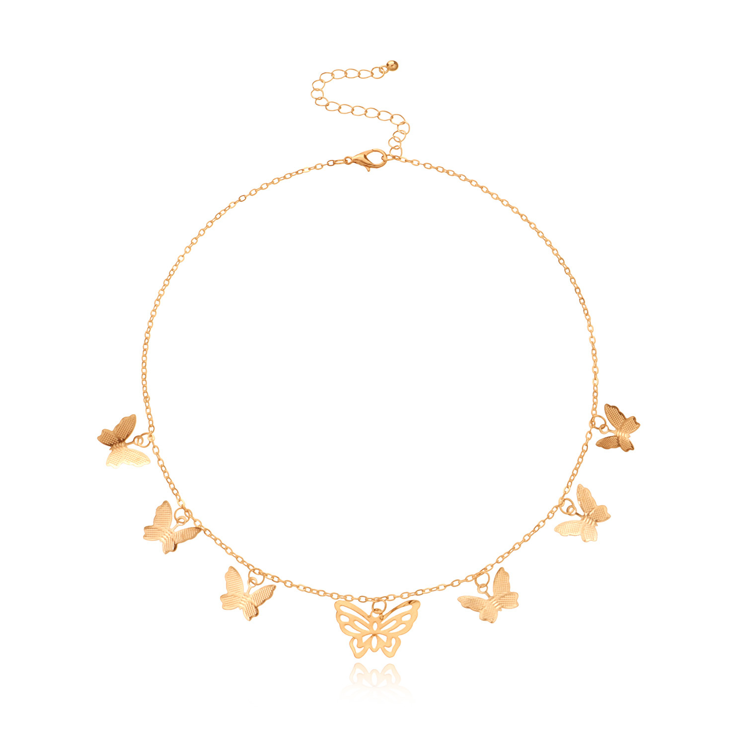 Gold Color Hollow Butterfly Pendant Necklace for Women Choker Necklaces Female Clavicle Chain 2020 Fashion Jewelry New