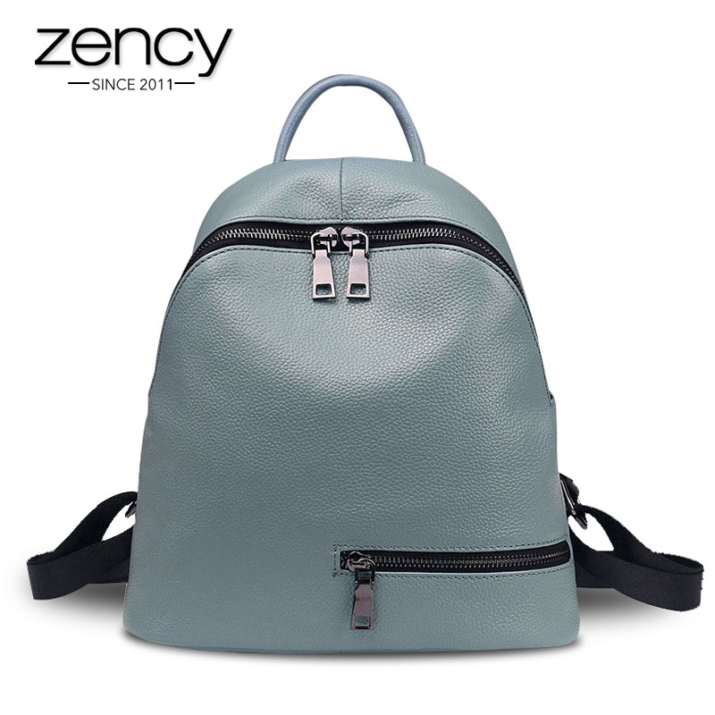 Zency 100% Genuine Leather Women Backpack Daily Casual Travel Bag For Lady Small Beach Knapsack High Quality Students Schoolbag