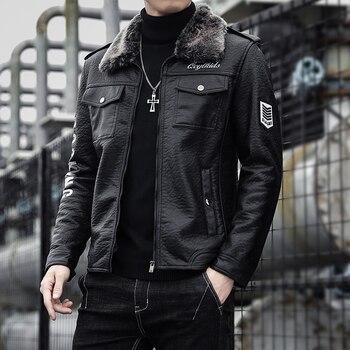 2020 Autumn Winter Leather Jacket Men Fashion Velvet Warm Jacket Streetwear Casual Coat Youth Plus Size M-4XL Drop Shipping