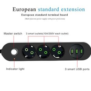 Image 4 - 2 Pin Tròn EU RUS Cắm Điện Dây Chuyển Đổi Đa Năng Ổ Cắm 3 Cổng USB Điện Nối Dài 1.8M 3M mạng Lưới Lọc Dành Cho Điện Thoại