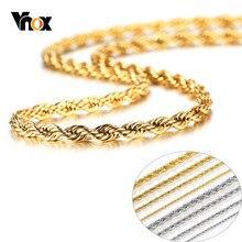 Vnox-collier chaîne en corde de 2/3/4/5mm pour hommes et femmes, brillant, tissé, en acier inoxydable, confortable, décontracté, maillons de cou unisexe de 16 à 36 pouces