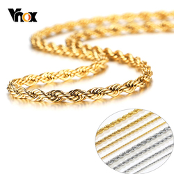 Vnox 2/3/4/5mm Rope Chain Necklace for Men Women Glossy Woven Stainless Steel Chain Comfort Fit Casual Unisex Neck Links 16