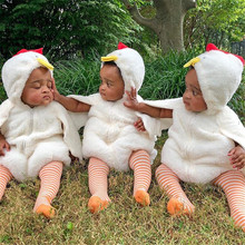 Cute Newborn Infant Baby Girls Boys Fuzzy Chick Rompers Jump