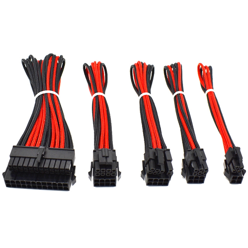 ATX 24Pin CUP 8Pin PCI-E 8P (6+2) PCIE 6Pin CPU 4Pin Power Supply M/F Extension Cable Red Black Nylon Sleeved Wire image