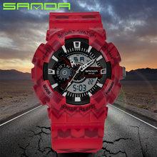Sanda merk chronograaf sport horloges mannen waterdichte siliconen