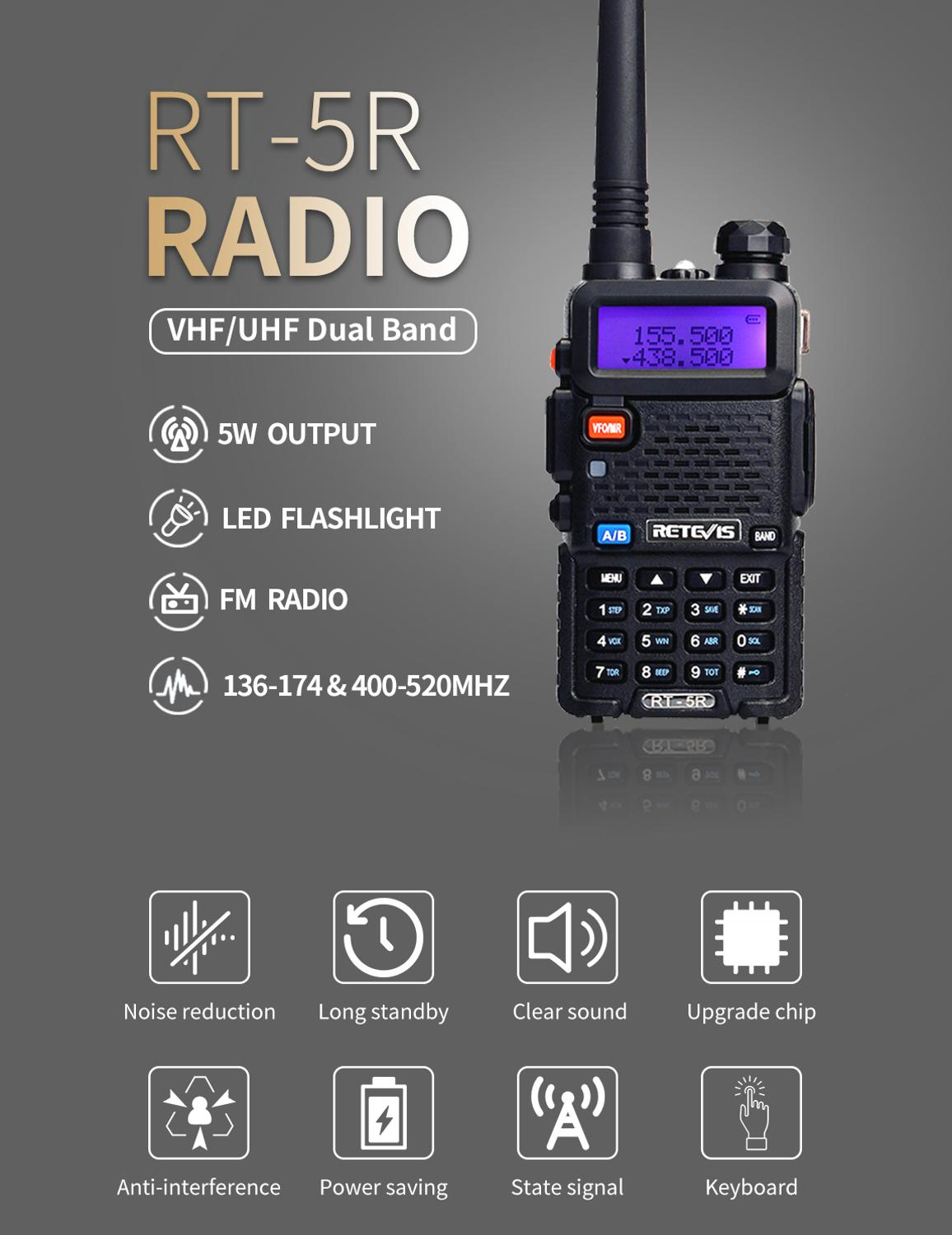 RETEVIS RT5R Handy Walkie Talkie 5W VHF UHF Ham Amateur Radio Station Two-way Radio Airsoft Game Walkie-Talkie for Baofeng UV-5R 1